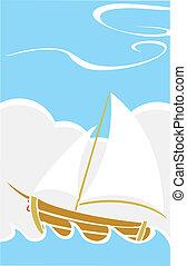 mer, bateau, simple
