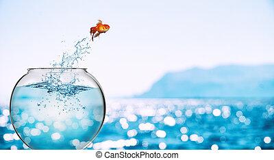mer, bonds, dehors, jeter, itself, aquarium, poisson rouge