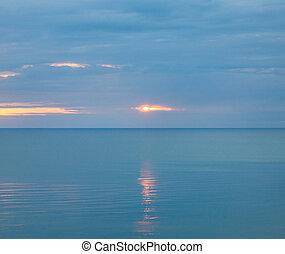 mer, calme, matin, nuageux