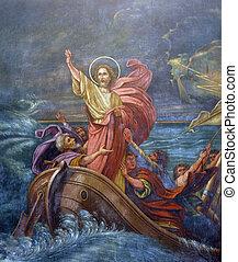 mer, calms, orage, jésus