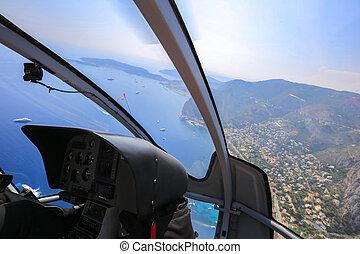mer, cavalcade, sur, hélicoptère