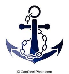 mer, chaîne ancre, icône