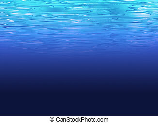 mer, clair, -, eau profonde, fond