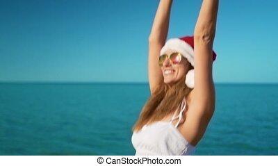 mer, claus, rejoices, santa, girl, chapeau, heureux
