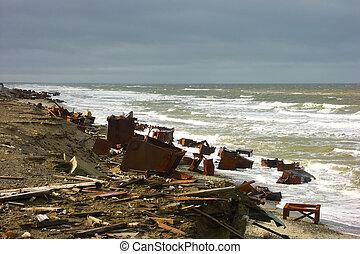 mer, coast., pollution