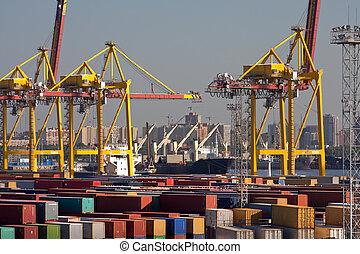 mer, commerce, port