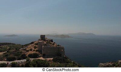 mer, contre, brun, forteresse, pierre, falaise rocheuse, ancien, bleu