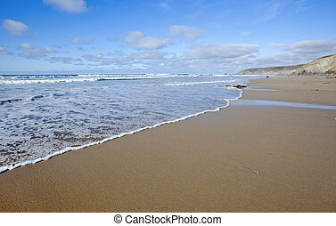 mer, cornouailles, rivage, porthtowan, royaume-uni, plage