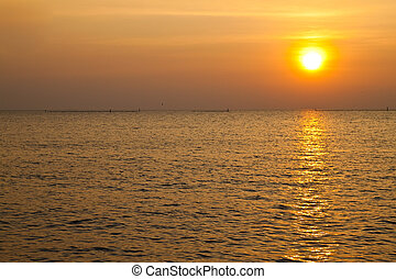 mer, coucher soleil, côte