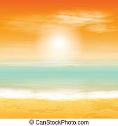 mer, coucher soleil