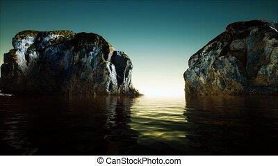 mer, eau froide, falaise, rocheux