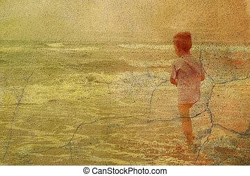 mer, enfant