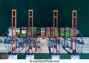 mer, expédition, récipient bateau, port, chargement, logistic., commercer, vue, aérien, harbor., transportation., fret, exportation, importation, cargaison, business