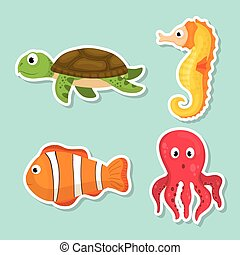 mer, faune, dessin animé