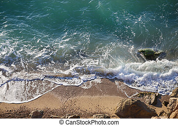 mer, galets, grand, côtier, vagues, plage, paysage