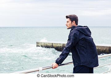 mer, homme, sports, debout, usure
