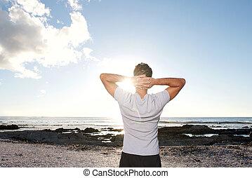 mer, mains, homme, tête, regarder