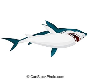 mer, marin, animal., shark., natation sous-marine, illustration, fâché, dangereux, toothy, vecteur, vie sauvage, predator., grand, caractère