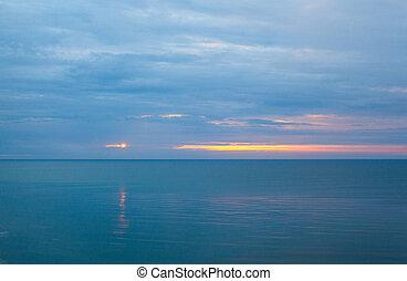 mer, matin, calme, nuageux
