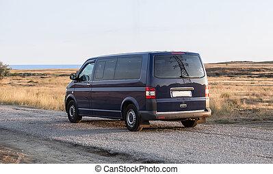 mer, mouvements, minivan, route