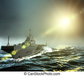 mer, navire guerre