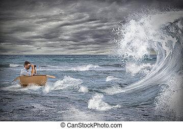 mer orageuse, aimer, affaire, crise