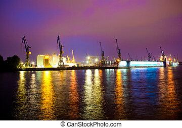 mer, ou, rivière, port, dans, temps nuit