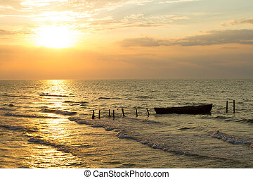 mer, pêche excédent, levers de soleil, bateau