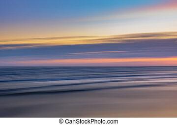 mer, paysage, brouillé