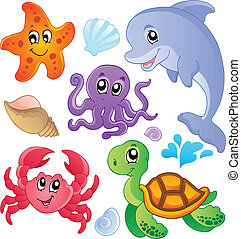 mer, poissons, et, animaux, collection, 3