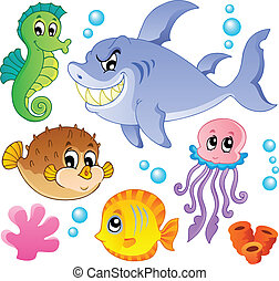 mer, poissons, et, animaux, collection, 4