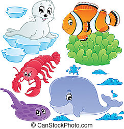 mer, poissons, et, animaux, collection, 5