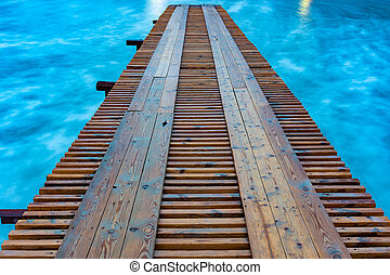 mer, pont, longue exposition, distance