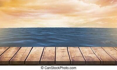 mer, promenade conseil, bois, pendant, coucher soleil