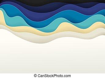 mer, résumé, sable, vecteur, fond, plage