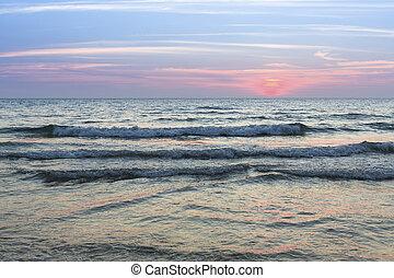 mer, ressac, soir