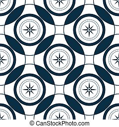 mer, rose, pattern., seamless, compass., marin, style., vent