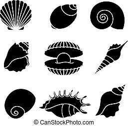 mer, silhouettes, isolé, coquilles, blanc