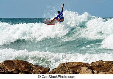mer, sport, -, vague, surfer