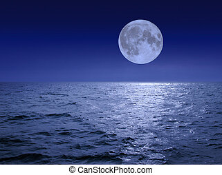 mer, sur, lune
