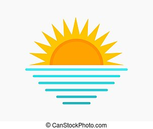 mer, symbole., soleil