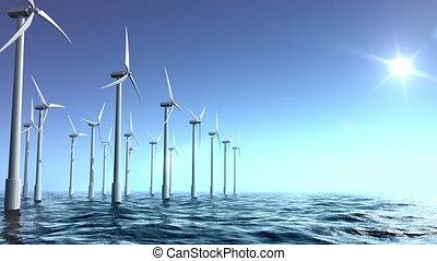 mer, turbines, ferme vent