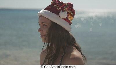 mer, vacances, hat., plage, noël, girl, rouges