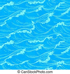 mer, vagues, seamless, pattern.
