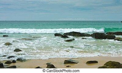 mer, vagues, vue, rivage, rochers