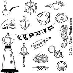 mer, vecteur, griffonnage, collection