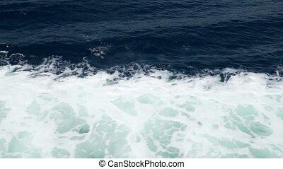 mer, vue., waves., aérien, nature, foam., eau blanche, fond, bleu, profond, bateau