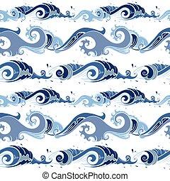 mer, waves., fond, seamless