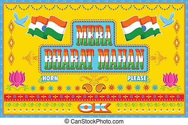 mera, bharat, mahan, in, lastwagen, farbe, stil