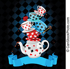 meraviglia, tè, piramide, disegno, festa